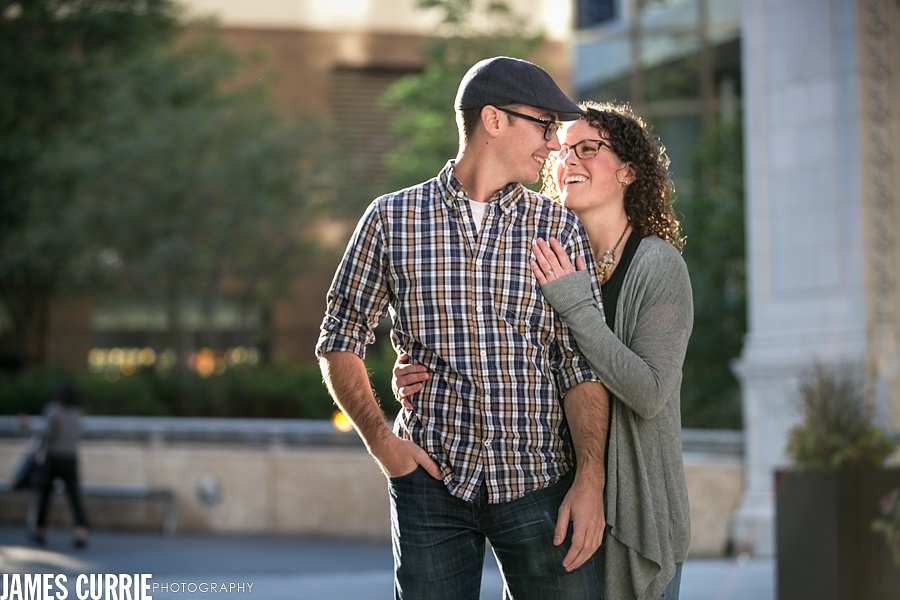 Chicago River walk engagement photography